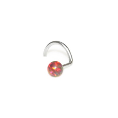 Tragus Earring Stud with 3mm Black-Red Opal gemstone - Surgical Steel (SKU: PN0048SSH)