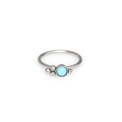 Nose Ring Hoop with Turquoise gemstone - Surgical Steel (SKU: PN0051SSH)
