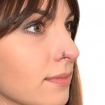 Nose Hoop Ring with Purple CZ stone - 316L nose ring 20g
