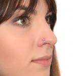 Nose Ring Hoop with Opal gemstones - Surgical Steel (SKU: PN0066SSH)
