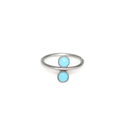 Nose Hoop Ring with Turquoise stone - 316L nose ring 20g