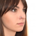 Nose Ring Hoop with Turquoise gemstones - Surgical Steel (SKU: PN0073SSH)