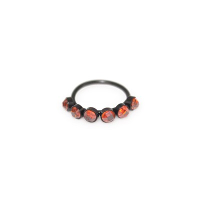 Nose Ring Hoop with Red CZ gemstones - Surgical Steel (SKU: PN0077SSH)