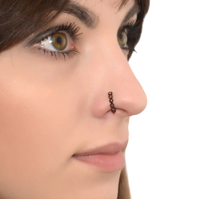 Nose Ring Hoop With Red Cz Gemstones Pn0077ssh Buy At Low Price