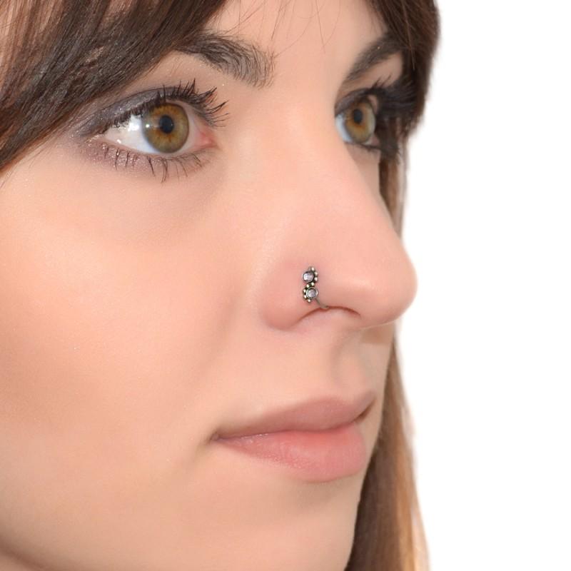 Surgical Steel Nose Ring Hoop - Purple CZs nose hoop