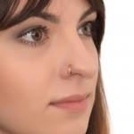 Nose Ring Hoop with White Opal gemstone - Surgical Steel (SKU: PN0100SSH)