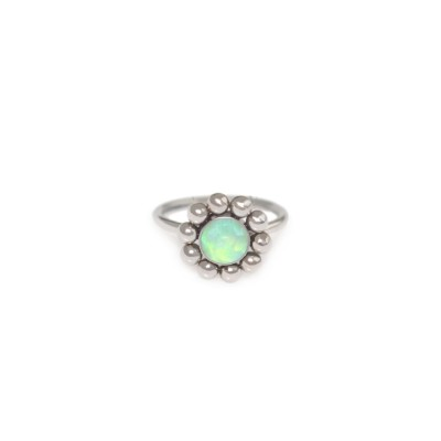 Tragus Clicker Ring with Opal gemstone - Surgical Steel (SKU: PN0104SSH)