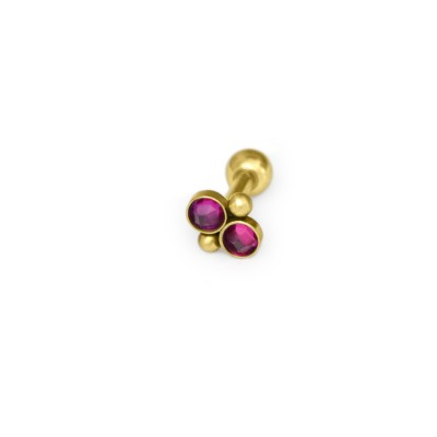 Cartilage Barbells with a ball and Ruby gemstone - Surgical Steel (SKU: PN1148SSH)