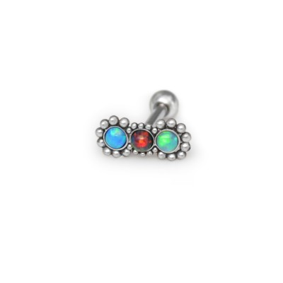 Helix Barbells with a ball and Opal gemstone - Surgical Steel (SKU: PN1151SSH)