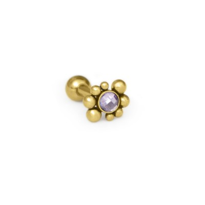 Tragus Barbells with a ball and CZ gemstone - Surgical Steel (SKU: PN1159SSH)
