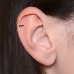 Cartilage Barbells with a ball and Garnet gemstone - Surgical Steel (SKU: PN1168SSH)