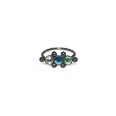 Cartilage Clicker Earring with CZs gemstones - Surgical Steel (SKU: PN0119SSH)