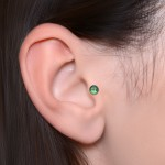 Cartilage Barbells with a ball and CZ gemstone - Surgical Steel (SKU: PN1192SSH)