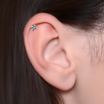 Tragus Barbells with a ball and CZ gemstone - Surgical Steel (SKU: PN1195SSH)