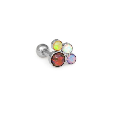 Conch Barbells with a ball and Opals gemstones - Surgical Steel (SKU: PN1196SSH)