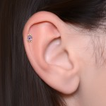 Tragus Barbells with a ball and CZ gemstone - Surgical Steel (SKU: PN1201SSH)