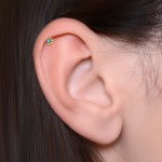 Conch Barbells with a ball and Opal gemstone - Surgical Steel (SKU: PN1202SSH)
