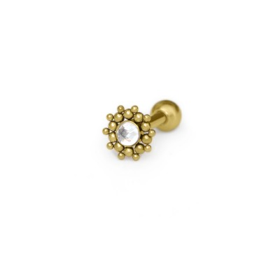 Helix Barbells with a ball and CZ gemstone - Surgical Steel (SKU: PN1215SSH)