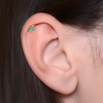 Conch Barbells with a ball and Opals gemstones - Surgical Steel (SKU: PN1239SSH)