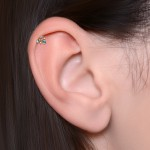 Conch Barbells with a ball and CZs gemstones - Surgical Steel (SKU: PN1250SSH)