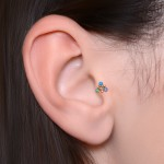 Cartilage Barbells with a ball and Opal gemstone - Surgical Steel (SKU: PN1251SSH)