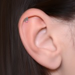 Tragus Barbells with a ball and Opal gemstone - Surgical Steel (SKU: PN1255SSH)