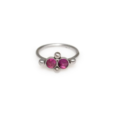 Tragus Clicker Ring with Ruby gemstone - Surgical Steel (SKU: PN0126SSH)