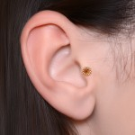 Conch Barbells with a ball and CZ gemstone - Surgical Steel (SKU: PN1275SSH)