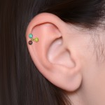Tragus Barbells with a ball and Opal gemstone - Surgical Steel (SKU: PN1288SSH)