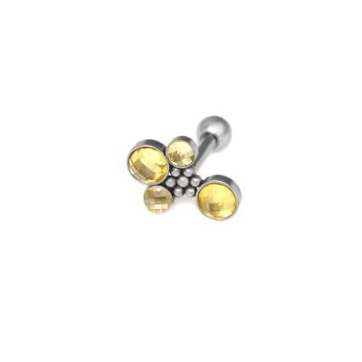 Conch Barbells with a ball and CZs gemstones - Surgical Steel (SKU: PN1291SSH)