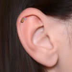 Cartilage Barbells with a ball and Opal gemstone - Surgical Steel (SKU: PN1292SSH)