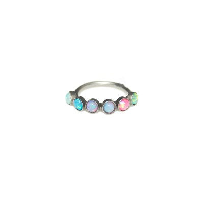 Rook Clicker Earring with Opals gemstones - Surgical Steel (SKU: PN0133SSH)