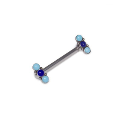 Nipple Barbell with Turquoise and Lapis lazuli gemstones - Surgical Steel (SKU: PN1809SSH)