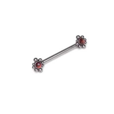 Nipple Barbell with Garnet gemstones - Surgical Steel (SKU: PN1829SSH)
