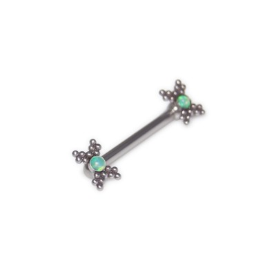 Nipple Barbell with Opal gemstone - Surgical Steel (SKU: PN1885SSH)