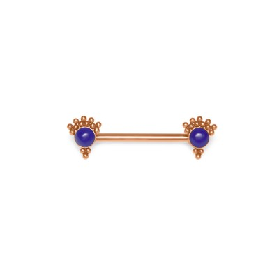 Nipple Barbell with Lapis lazuli gemstone - Surgical Steel (SKU: PN1940SSH)