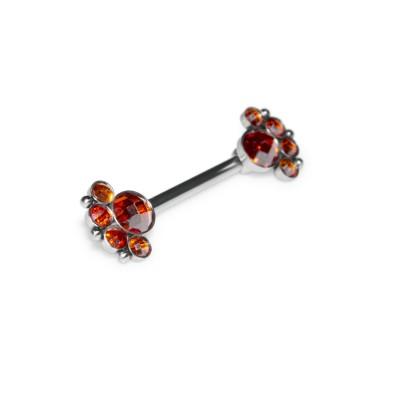 Nipple Barbell with CZ gemstones - Surgical Steel (SKU: PN1959-1SSH)