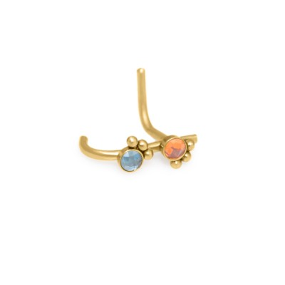 L-shaped Nose Stud Ring with CZ gemstones - Surgical Steel (SKU: PN0216SSH)