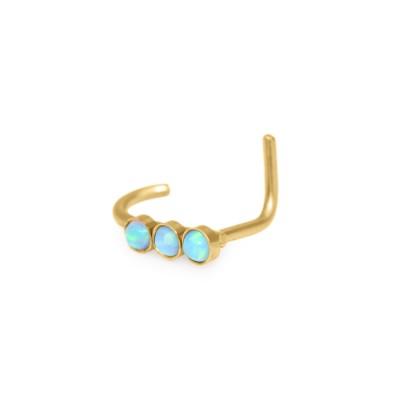 L-shaped Nose Stud Ring with Opal gemstones - Surgical Steel (SKU: PN0233SSH)