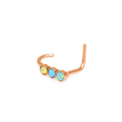 Nose Ring Stud with Opal - surgical steel nose ring