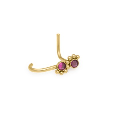 Surgical Steel Nose Stud 18g with Ruby - stainless steel nose jewelry