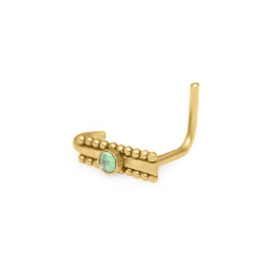 L-shaped Nose Stud Ring with CZ gemstone - Surgical Steel (SKU: PN0240SSH)