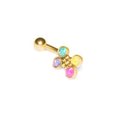 Rook Curved Barbell with Opals gemstones - Externally Threaded - Surgical Steel (SKU: PN2405SSH)