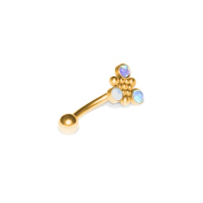 Eyebrow Banana Barbell with Opal gemstones - Surgical Steel (SKU: PN2415SSH)