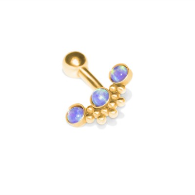 Rook Curved Barbell with Opals gemstones - Externally Threaded - Surgical Steel (SKU: PN2426SSH)