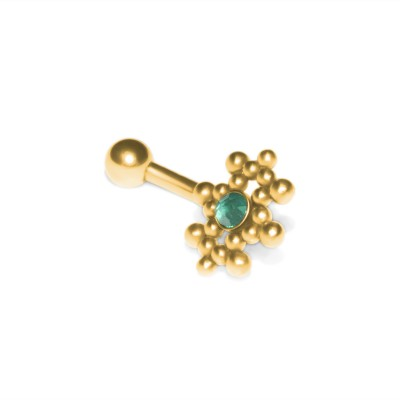 Eyebrow Curved Barbell with CZ gemstone - Surgical Steel (SKU: PN2464SSH)