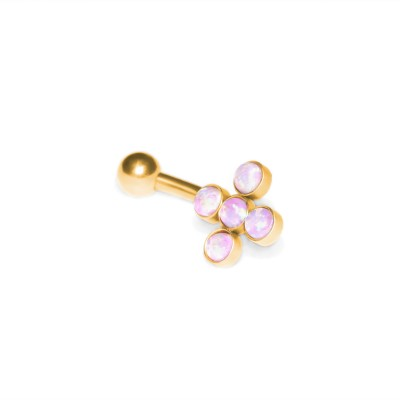 Eyebrow Banana Barbell with Opal gemstones - Surgical Steel (SKU: PN2478SSH)