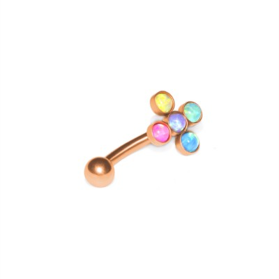 Opal Eyebrow Jewelry - Surgical steel rook barbell, body piercing jewelry