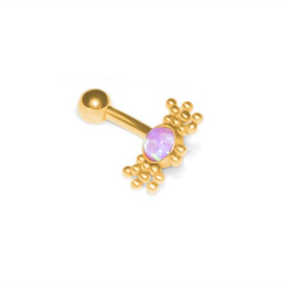 Rook Curved Barbell with Opal gemstone - Externally Threaded - Surgical Steel (SKU: PN2492SSH)