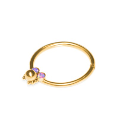 Nipple Clicker Earring with Opal gemstones - Surgical Steel (SKU: PN2499SSH)